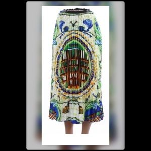 Pleated skirt with waist band stretch multi color